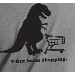 T-Rex Hates Shopping Men's Grey Vinyl Graphic T-Shirt