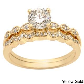 Auriya  14k Gold 1ct TDW Diamond Bridal Ring Set (H-I, I1-I2)