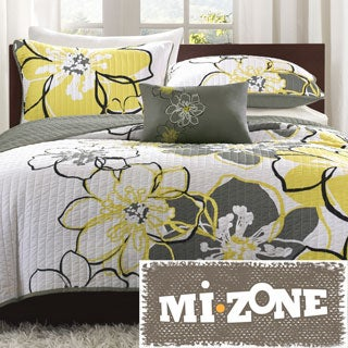 Mi Zone Mackenzie Yellow/ Grey Patterned Polyester 4-piece Quilt Set