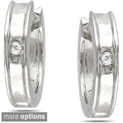 Haylee Jewels Sterling Silver Diamond Hoop Earrings