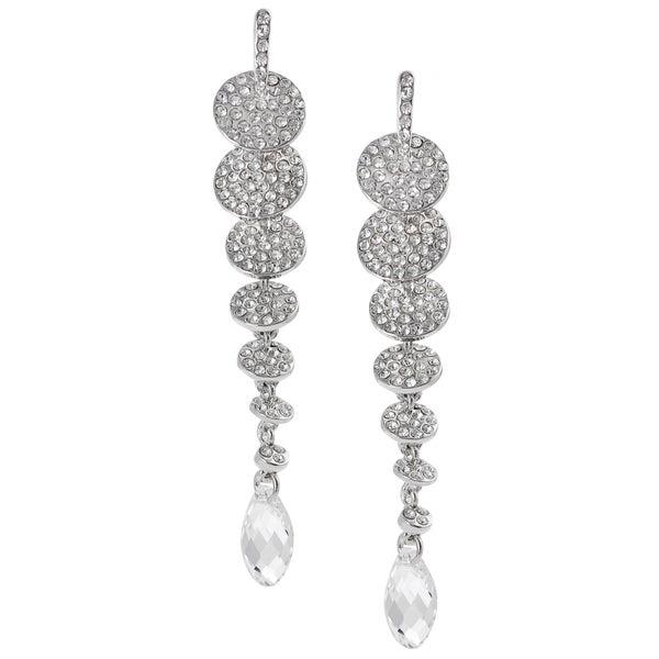 Journee Collection Silvertone Crystal Chandelier Earrings
