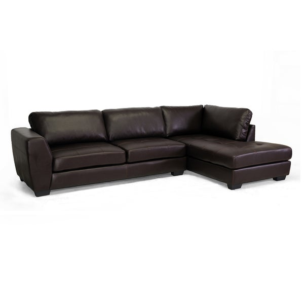 Baxton studio orland brown bonded leather modern sectional for Bonded leather chaise
