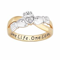 18k Gold over Silver Two-tone 'One Life, One Love' Engraved Claddagh Diamond Ring