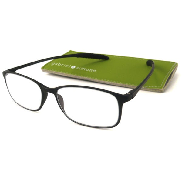 Gabriel+Simone Readers Men's/ Unisex Flexi-Grande Black Reading Glasses