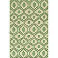 Modern Waves Green Hand-Tufted Rug (8' x 10')