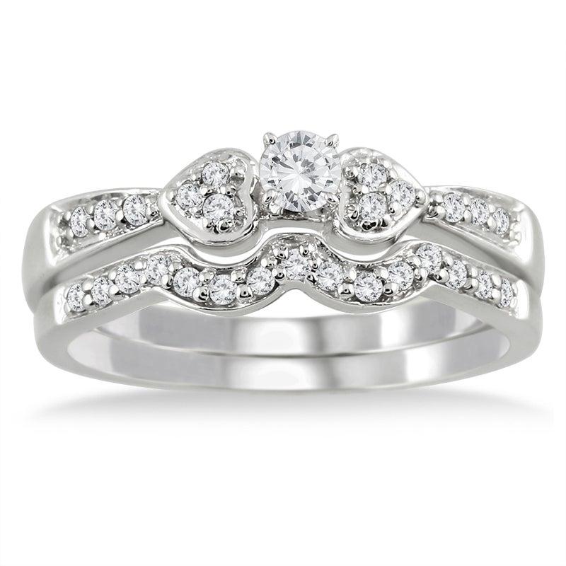 10k White Gold 1/3ct TDW 2-Piece Diamond Ring Set (I-J, I1-I2)