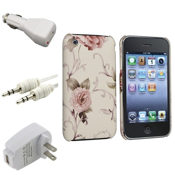BasAcc White/ Pink Case/ Chargers/ Cable for Apple® iPhone 3G/ 3GS