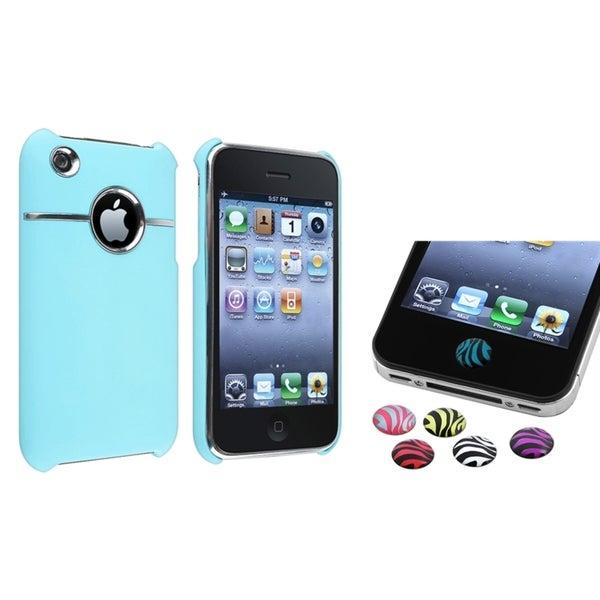 BasAcc Blue Case/ Zebra Home Button Sticker for Apple® iPhone 3G/ 3GS