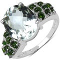 Malaika Sterling Silver Green Amethyst and Chrome Diopside Ring