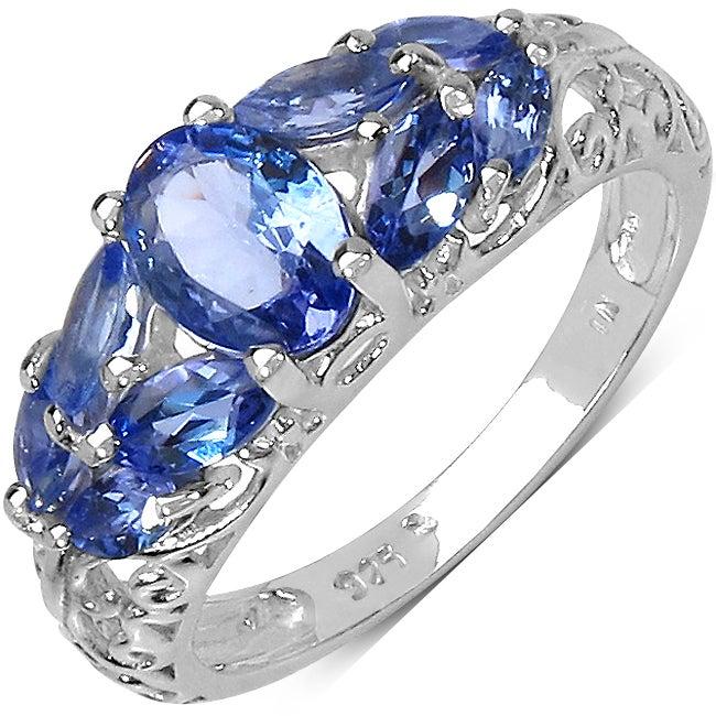 Malaika Sterling Silver Marquise-cut Tanzanite Ring