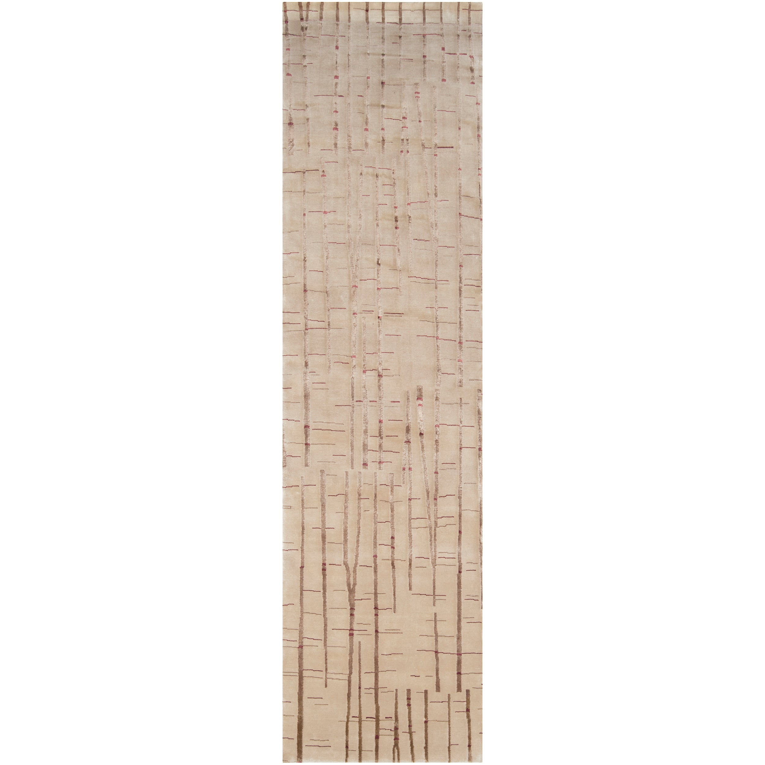 Julie Cohn Hand-knotted Blueridge Tan Abstract Design Wool Rug (2 '6 x 10')