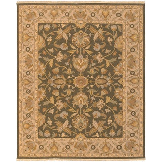 Hand-knotted Fryemesa Olive New Zealand Wool Rug (4' x 10')