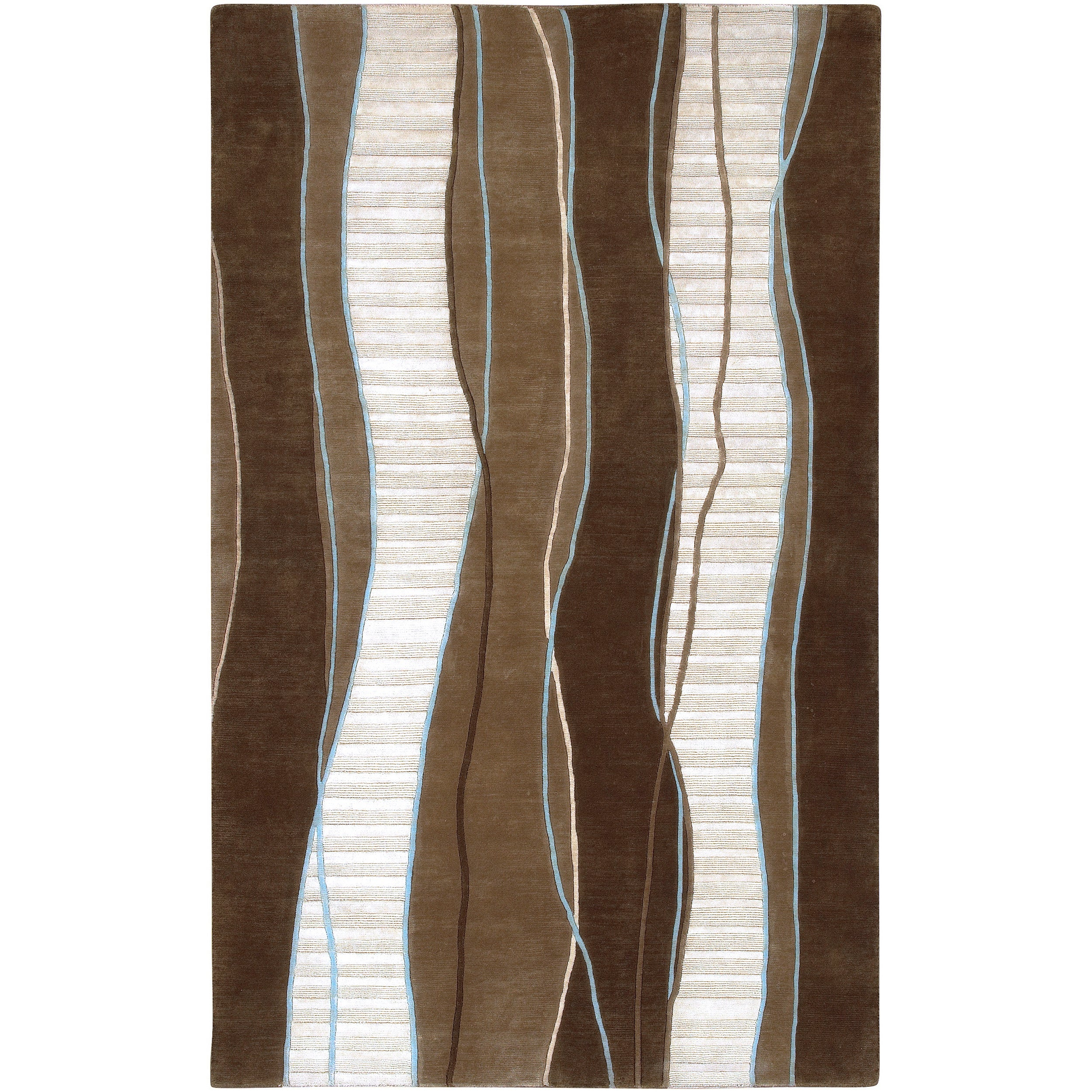 Hand-knotted Mackay Brown Geometric Wool Rug (9' x 13')