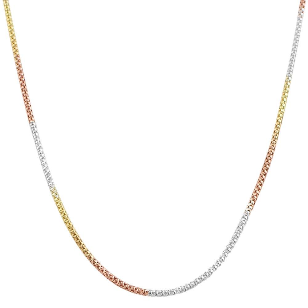Fremada 14k Tri-color Gold over Sterling Silver Popcorn Chain