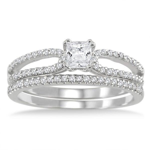 10k White Gold 3/5ct TDW White Diamond Bridal Ring Set (I-J, I1-I2)