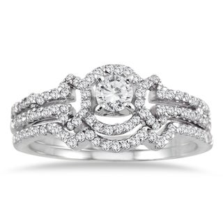 10k White Gold 5/8ct TDW Round-cut White Diamond Bridal Ring Set (I-J, I1-I2)