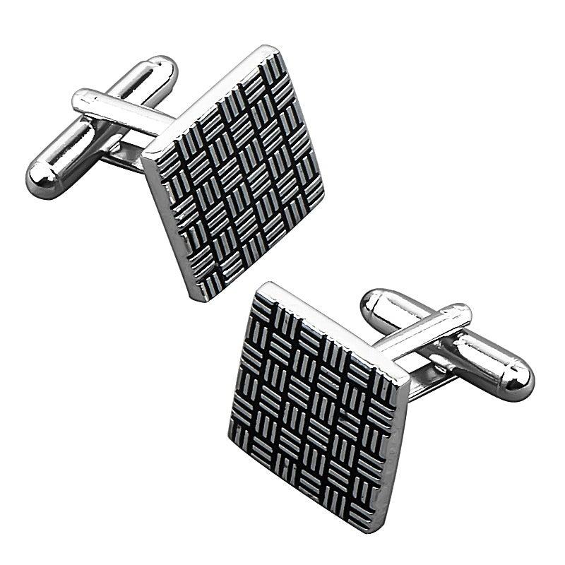 INSTEN Grey/ Black Square Cufflink
