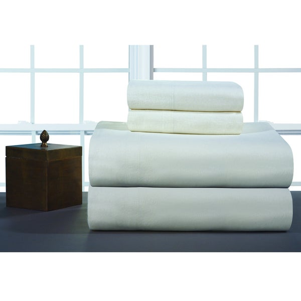 Pointehaven Ivory Solid Heavyweight Flannel Sheet Set