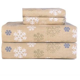 Pointehaven Snowflakes Oatmeal Printed Heavyweight Flannel Sheet Set