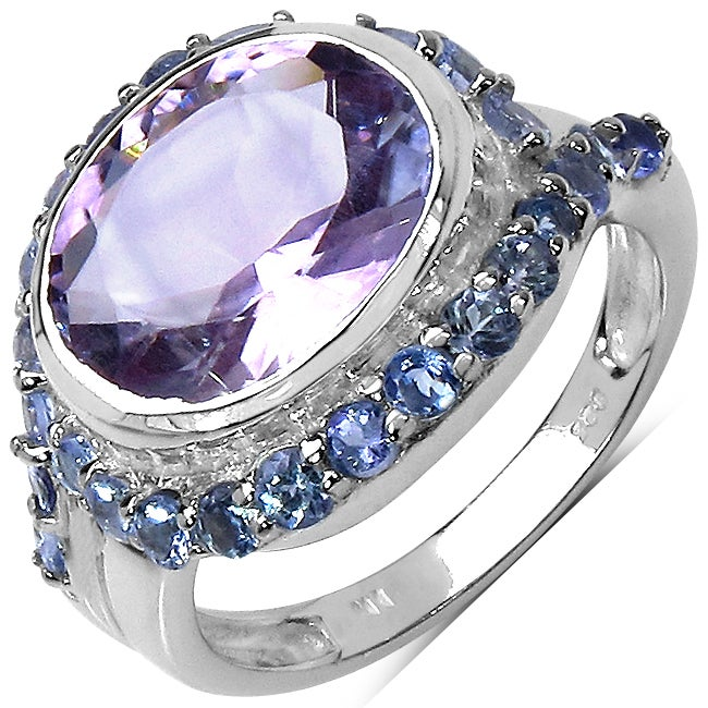 Malaika Sterling Silver Bezel-set Amethyst and Tanzanite Ring