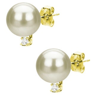 DaVonna 14k Gold 7-7.5mm Akoya Pearl and Diamond Stud Earring with Gift Box