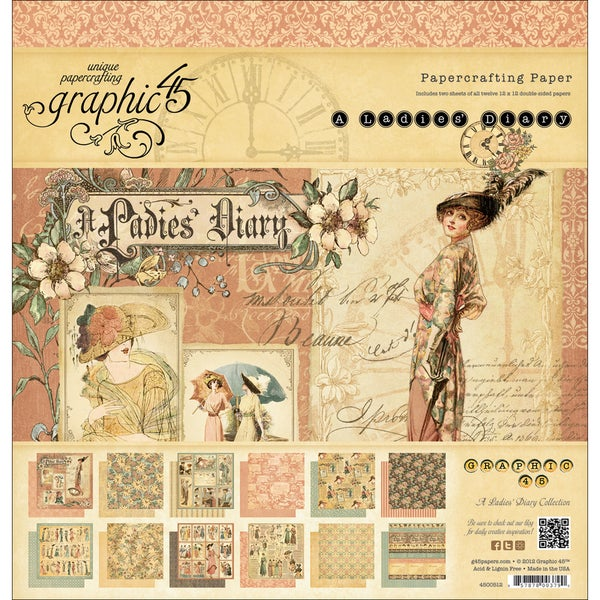 """Ladies' Diary Double-Sided Paper Pad 12""""X12""""-24 Sheets - 12 Designs/2 Each"""