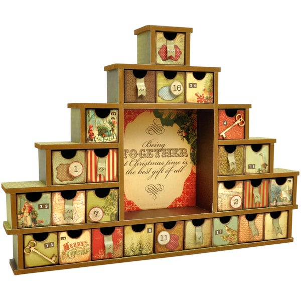 """Beyond The Page MDF Shadow Box With Drawers Advent Calendar-14.5""""X12""""X2"""""""