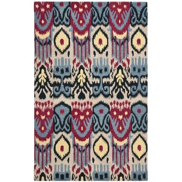 Safavieh Handmade Ikat Beige/ Blue Wool Rug (4' x 6')