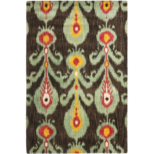 Safavieh Handmade Ikat Charcoal Grey/ Blue Wool Rug (6' x 9')