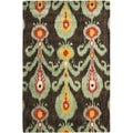 Safavieh Handmade Ikat Charcoal Grey/ Blue Wool Rug (4' x 6')