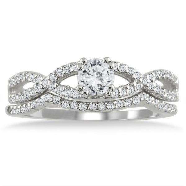 10k White Gold 5/8ct TDW White Diamond Bridal Ring Set (I-J, I1-I2)