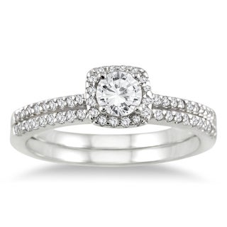 10k Gold 3/5ct TDW White Diamond Halo Bridal Ring Set (I-J, I1-I2)
