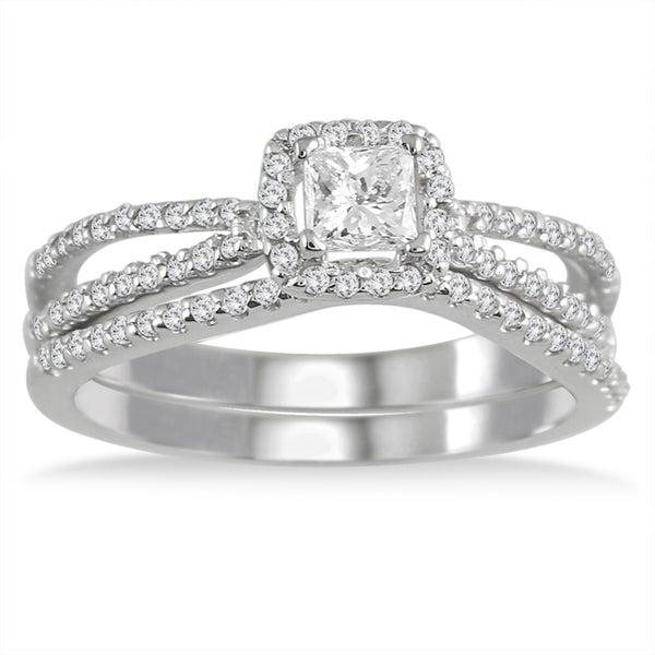 10k White Gold 5/8ct TDW White Diamond Prong-set Bridal Ring Set (I-J, I1-I2)