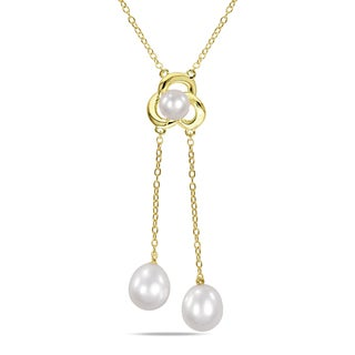 M by Miadora Yellow Rhodium-plated Silver Cultured Freshwater Pearl Necklace