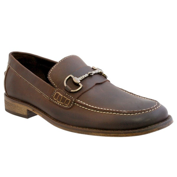 Giorgio Brutini Men's Brown Leather Slip-on Loafers