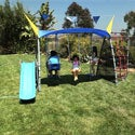 Ironkids Premier 650 Complete Fitness Playground Swing Set with Protective Sunshade and Refreshing Mist