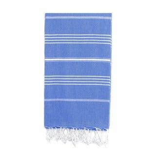 Authentic Pestemal Fouta Original Fouta Royal Blue and White Stripe Turkish Cotton Bath/ Beach Towel