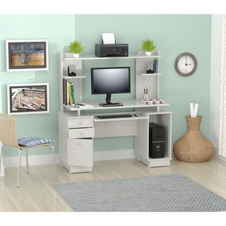 Inval Modern White Computer Workcenter/ Credenza and Hutch