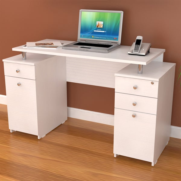 Inval Larcinia White Modern Straight Computer Writing Desk with Locking File Drawer