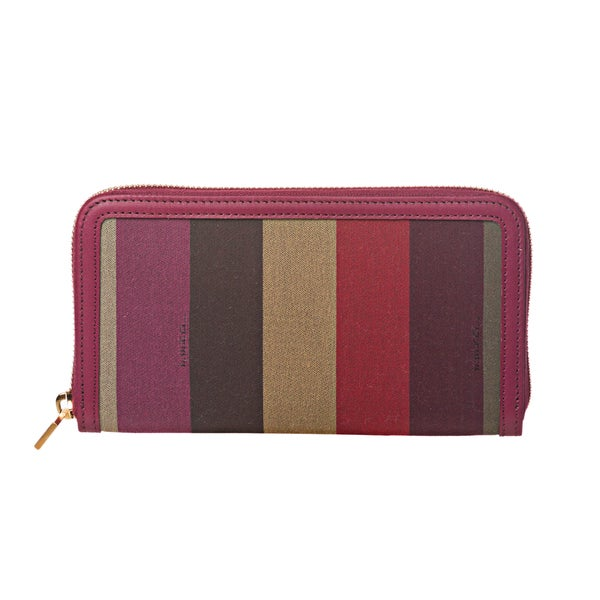Fendi 'Pequin' Striped Chameleon Bifold Zip-around Fabric Wallet