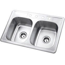 Self-Rimming Double-Bowl Topmount Kitchen Sink