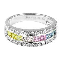 Contessa 14k Gold Multi-colored Sapphire and 1/4ct TDW Diamond Ring (H-I, I1-I2)