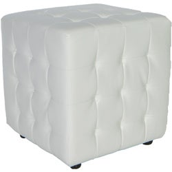 Traditional Izzo White Tufted Cube Ottoman