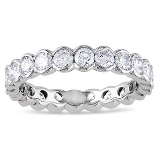 Miadora 14k White Gold 2ct TDW Certified Diamond Eternity Ring (G-H, I1-I2)