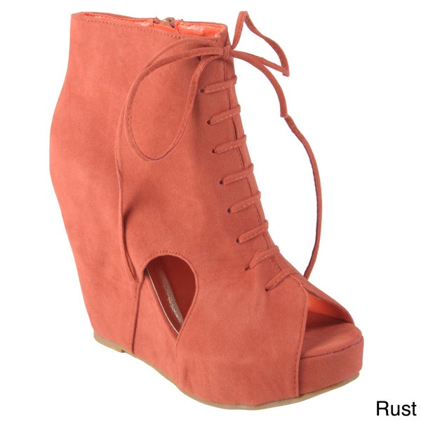 Journee Collection Women's Faux Suede 'Camilla-2' Cut-out Lace-up Wedge Bootie