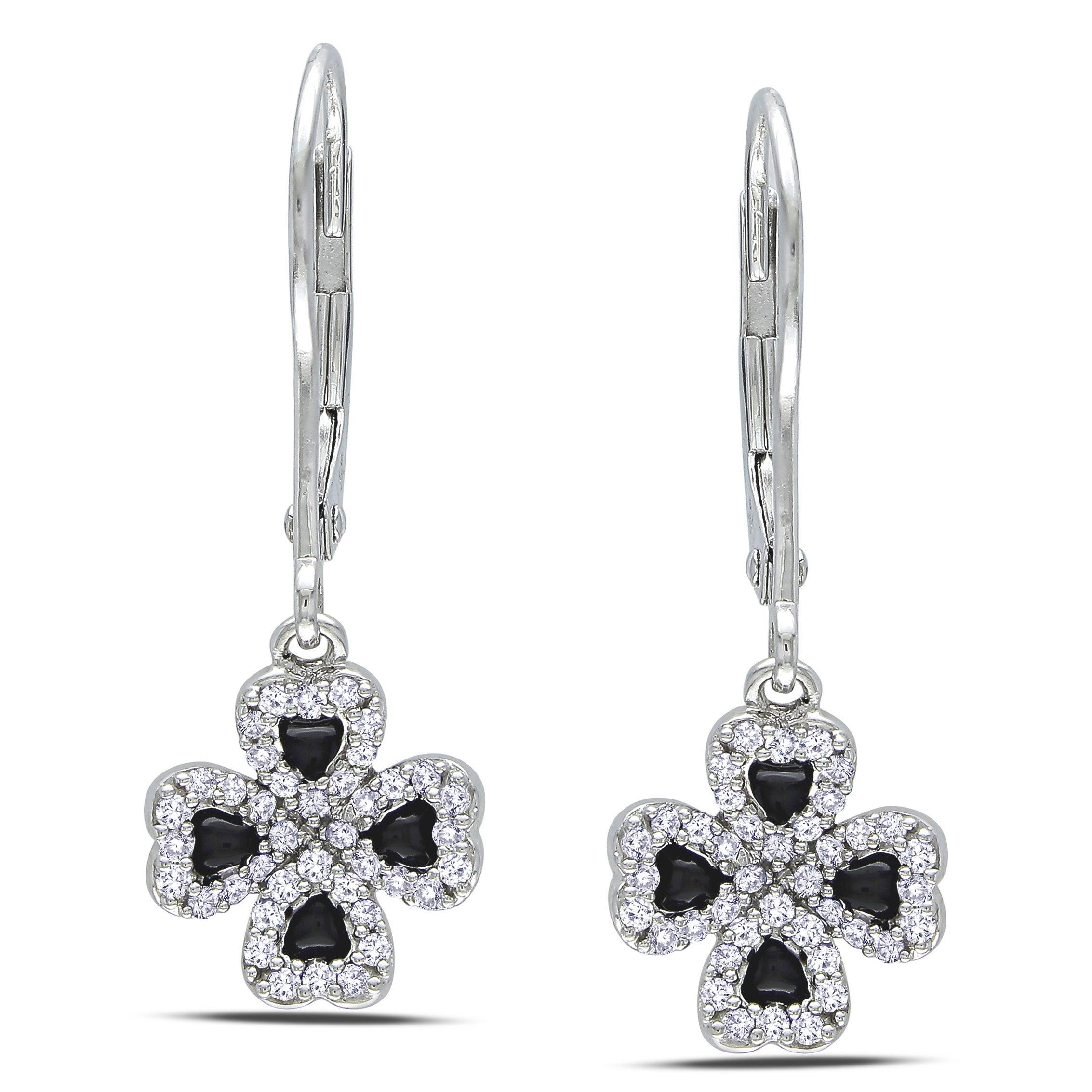 Miadora 14k Gold 1/4ct Black Enamel Four Leaf Clover Diamond Earrings