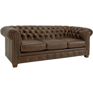 Hancock Tufted Distressed Brown Italian Chesterfield Leather Sofa