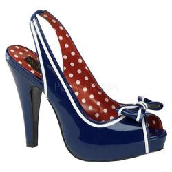 Women's Pin Up Bettie 05 Navy Blue Patent Leather