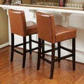 Christopher Knight Home Lopez Hazelnut Leather Counterstools (Set of 2)