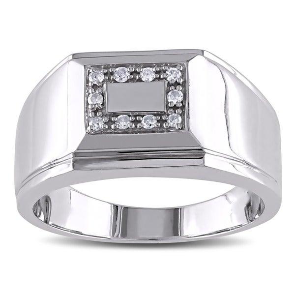Sterling Silver 1/10ct TDW Men's Diamond Ring